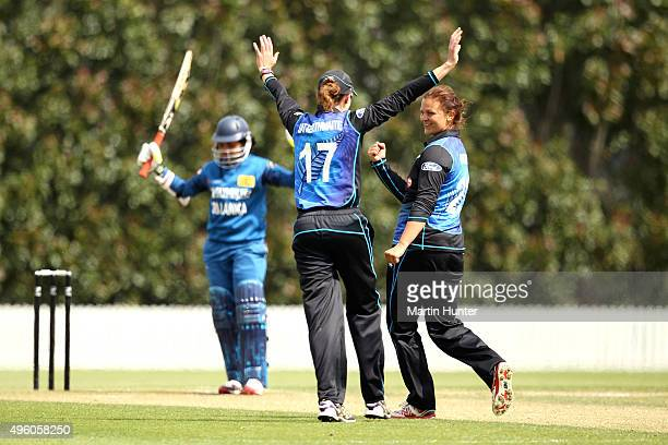 Suzie Bates and Amy Satterthwaite of New Zealand celebrate the wicket of Sripali Weerakkody of Sri Lanka during the Third Women's One Day...