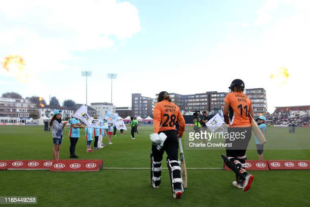 Suzie Bates and Danni Wyattof Southern Vipers make their way onto the pitch during the Kia Super League 2019 Final between Western Storm and Southern...