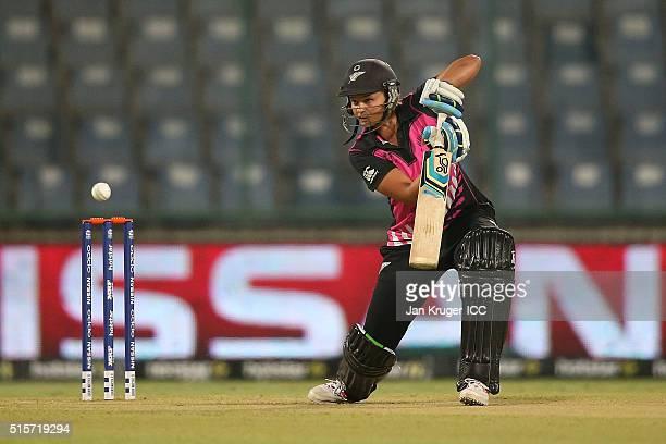 Suzie Bates Captain of New Zealand bats during the Women's ICC World Twenty20 India 2016 match between New Zealand and Sri Lanka at Feroz Shah Kotla...