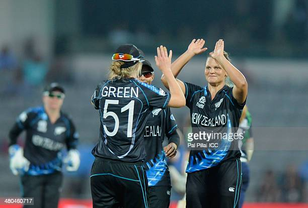 Suzie Bates captain of New Zealand celebrates the wicket of Melissa ScottHayward during the ICC Women's World Twenty20 match between New Zealand...