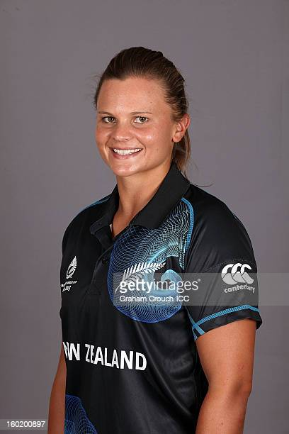 Suzie Bates Captain of New Zealand poses at a portrait session ahead of the ICC Womens World Cup 2013 at the Taj Mahal Palace Hotel on January 27...
