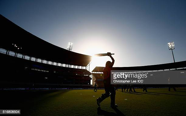 Suzie Bates Captain of New Zealand walks out onto the pitch to open the batting for New Zealand during the Women's ICC World Twenty20 India 2016...