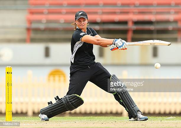 Suzie Bates of New Zealand bats during game two of the women's One Day International series between the Australian Southern Stars and New Zealand at...