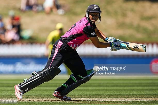 Suzie Bates of New Zealand bats during match one of the TransTasman Twenty20 Series at Basin Reserve on February 28 2016 in Wellington New Zealand