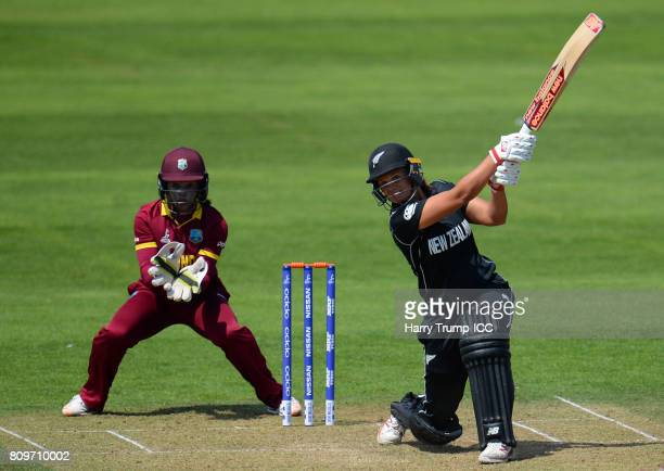 Suzie Bates of New Zealand bats during the ICC Women's World Cup 2017 match between New Zealand and the West Indies at The Cooper Associates County...