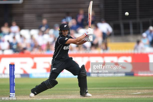 Suzie Bates of New Zealand bats during the ICC Women's World Cup 2017 between England and New Zealand at The 3aaa County Ground on July 12 2017 in...