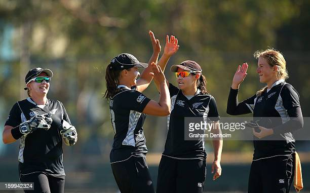 Suzie Bates of New Zealand celebrates with teammates after she caught out Alyssa Healy of Australia during the Women's International Twenty20 match...