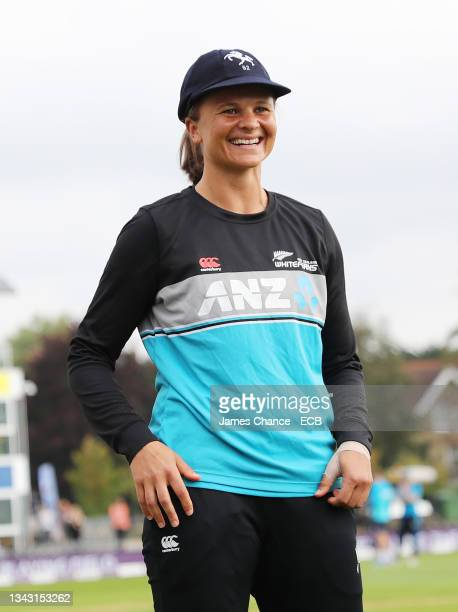 Suzie Bates of New Zealand is awarded her Kent cap prior to the 5th One Day International match between England and New Zealand at The Spitfire...