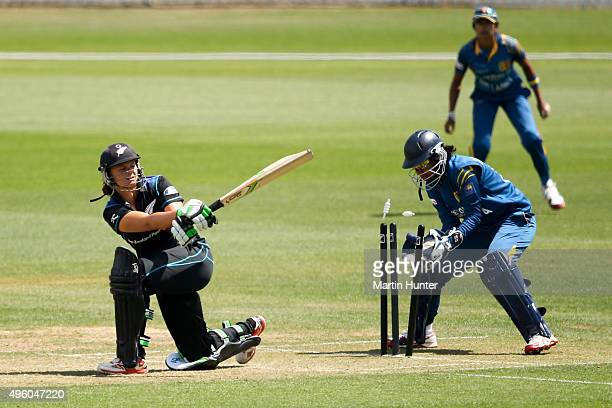 Suzie Bates of New Zealand is bowled during the Third Women's One Day International match between New Zealand and Sri Lanka at Bert Sutcliffe Oval...