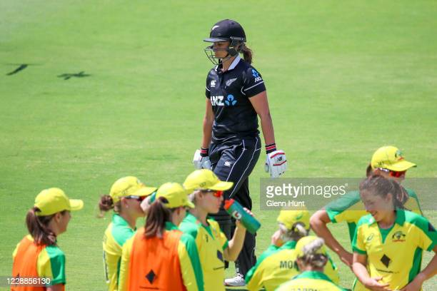 Suzie Bates of New Zealand leaves the field after getting out during game one in the women's One Day International Series between Australia and New...