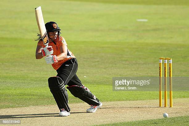 Suzie Bates of Southern Vipers bats in the final's match between Southern Vipers and Western Storm during the Kia Super League Finals Day at The...