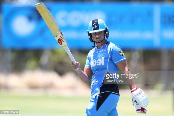 Suzie Bates of the Adelaide Strikers after losing her wicket on 102 during the Women's Big Bash League WBBL match between the Strikers and the...
