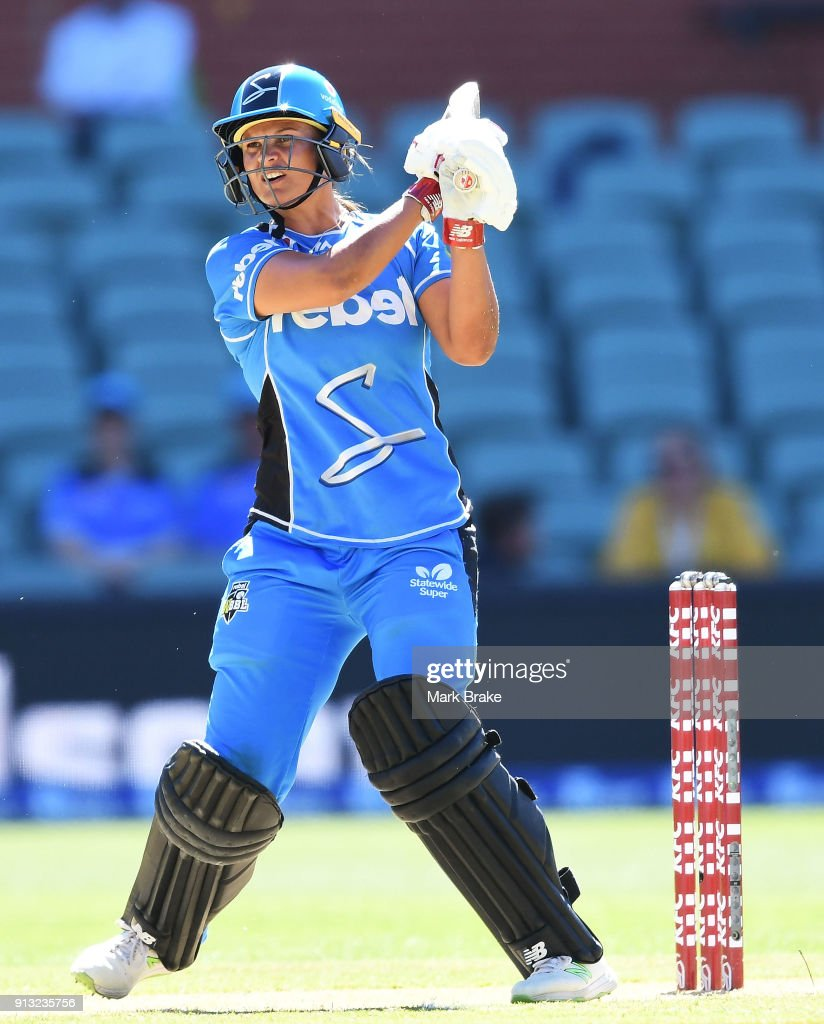 Suzie Bates of the Adelaide Strikers hits in the air and is caught by Lauren Smith of the Sydney Sixers during the Women's Big Bash League match between the Adelaide Strikers and the Sydney Sixers at Adelaide Oval on February 2, 2018 in Adelaide, Australia.