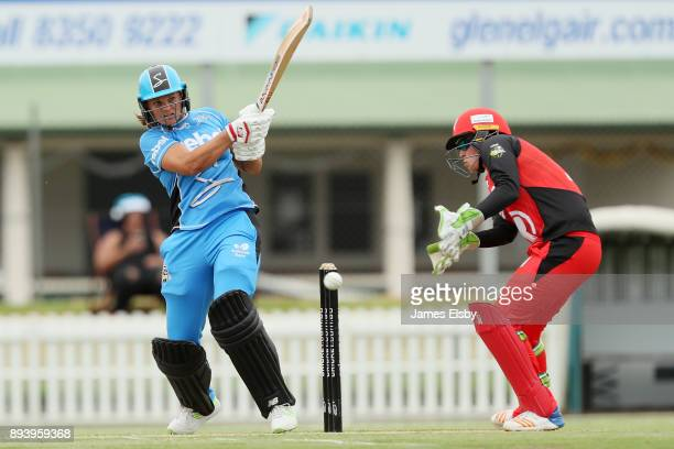 Suzie Bates of the Adelaide Strikers plays a shot during the Women's Big Bash League match between the Adelaide Strikers and the Melbourne Renegades...