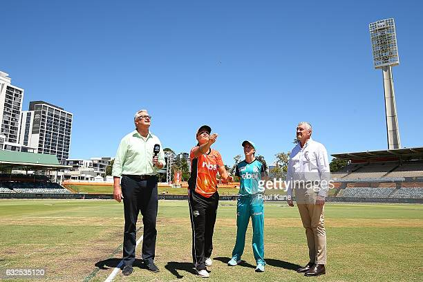 Suzie Bates of the Scorchers and Kirby Short of the Heat attend the coin toss during the Women's Big Bash League match between the Perth Scorchers...