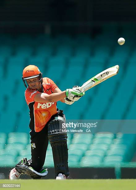 Suzie Bates of the Scorchers bats during the Women's Big Bash League match between the Sydney Sixers and the Perth Scorchers at Sydney Cricket Ground...