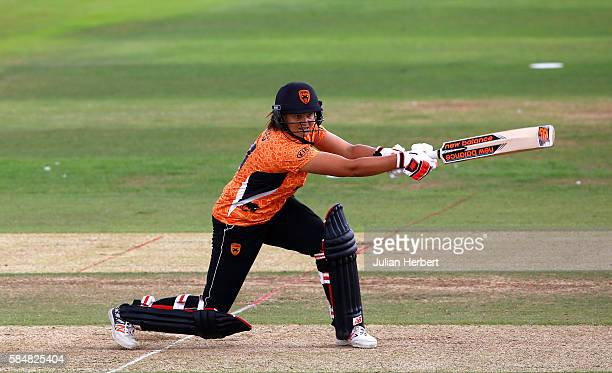 Suzie Bates of the Southern Vipers hits out during the Kia Super League women's cricket match between the Southern Vipers and the Surrey Stars at The...