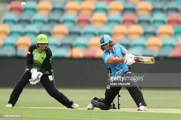 Suzie Bates of the Strikers bats during the Women's Big Bash League match between the Sydney Thunder and the Adelaide Strikers at Blundstone Arena on...