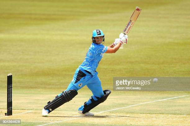 Suzie Bates of the Strikers bats during the Women's Big Bash League match between the Adelaide Strikers and the Perth Scorchers at Traeger Park on...