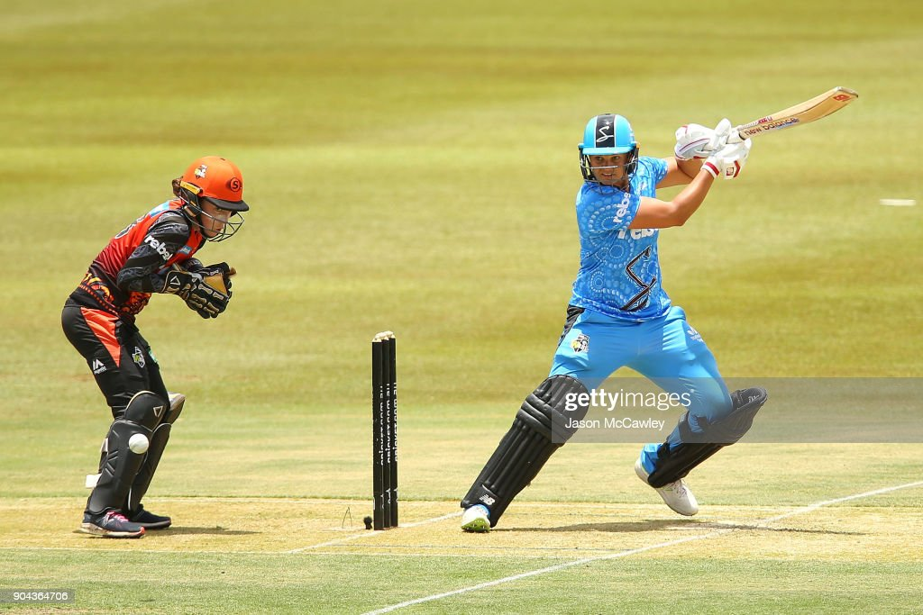 Suzie Bates of the Strikers bats during the Women's Big Bash League match between the Adelaide Strikers and the Perth Scorchers at Traeger Park on January 13, 2018 in Alice Springs, Australia.