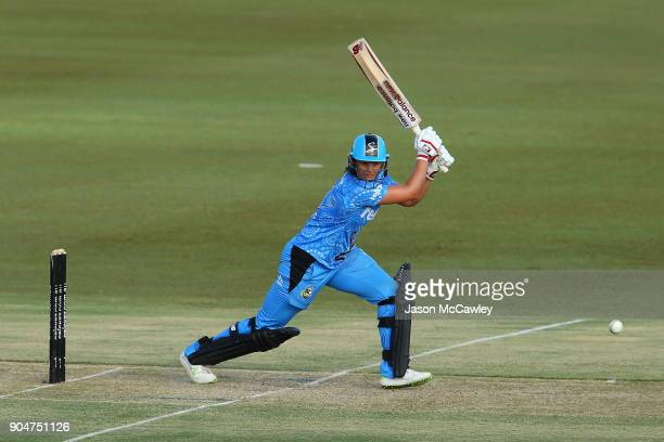 Suzie Bates of the Strikers bats during the Women's Big Bash League match between the Perth Scorchers and the Adelaide Strikers at Traeger Park on...
