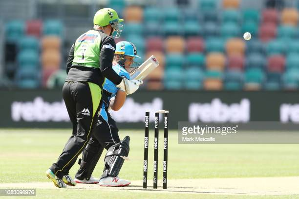 Suzie Bates of the Strikers is bowled by Stafanie Taylor of the Thunder during the Women's Big Bash League match between the Sydney Thunder and the...
