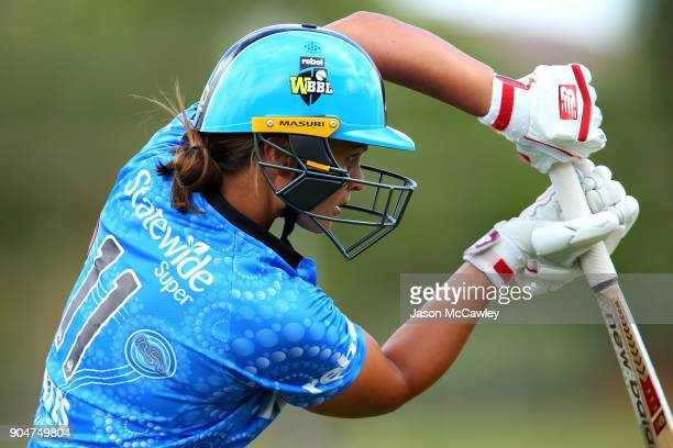 Suzie Bates of the Strikers looks on during the Women's Big Bash League match between the Perth Scorchers and the Adelaide Strikers at Traeger Park...