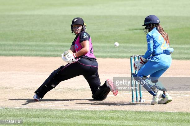 Suzie Bates of the White Ferns bats during the Women's International T20 Game 3 between New Zealand and India at Seddon Park on February 10 2019 in...