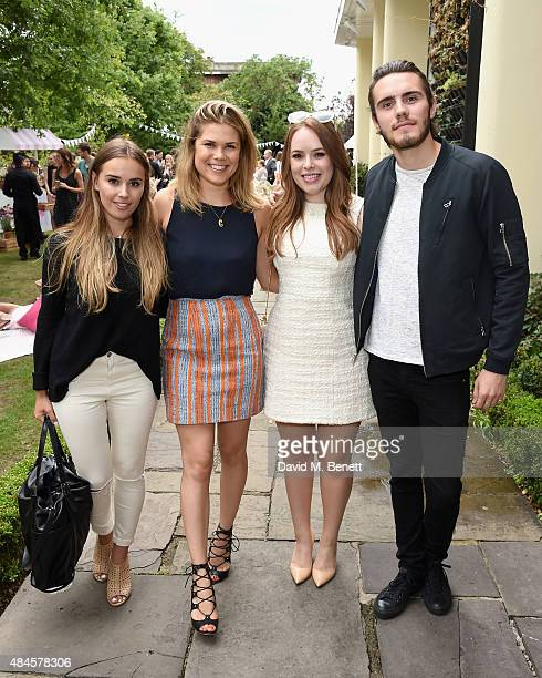 Suzie Bonaldi Madeline Shaw Tanya Burr and Alfie Deyes attend the Tanya Burr Cosmetics New Beauty Collection Launch Party at Kensington Roof Gardens...