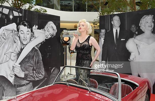 Suzie Kennedy the world's leading Marilyn Monroe lookalike launches Marilyn Monroe Legacy of a Legend exhibition at Design Centre on May 25 2016 in...