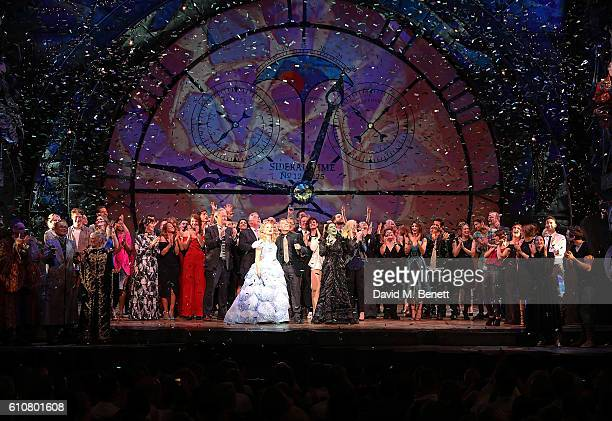 Suzie Mathers Stephen Schwartz and Rachel Tucker bow at the curtain call for the hit musical Wicked celebrating 10 years at The Apollo Theatre...