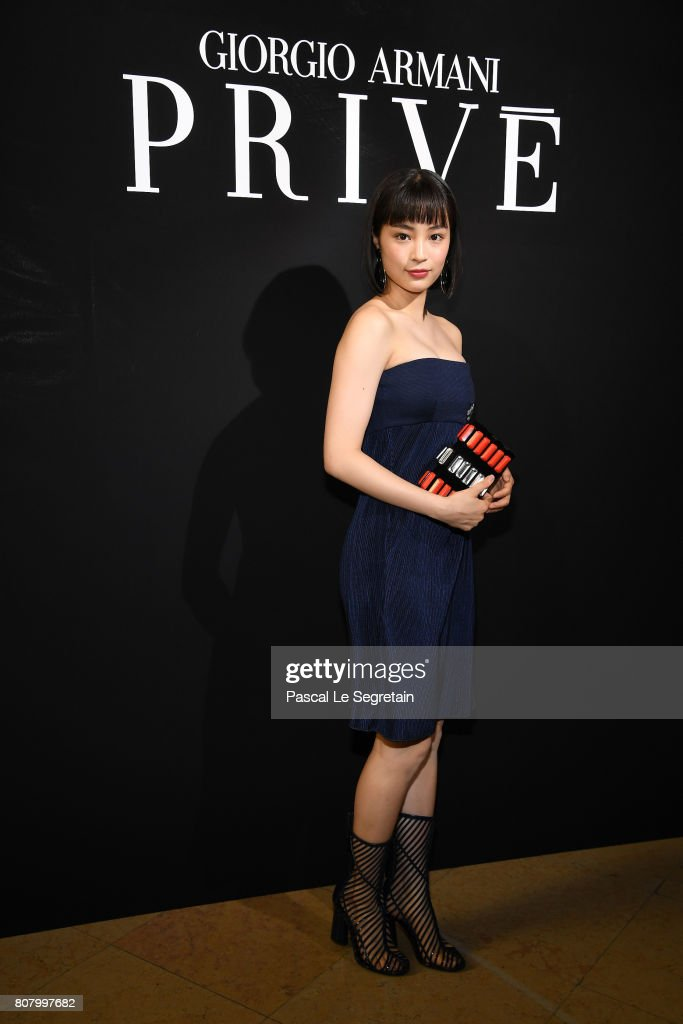 Suzu Hirose attends the Giorgio Armani Prive Haute Couture Fall/Winter 2017-2018 show as part of Haute Couture Paris Fashion Week on July 4, 2017 in Paris, France.