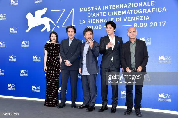 Suzu Hirose Koji Yakusho Hirokazu Koreeda Masaharu Fukuyama and Ludovico Einaudi attend the 'The Third Murder ' photocall during the 74th Venice Film...