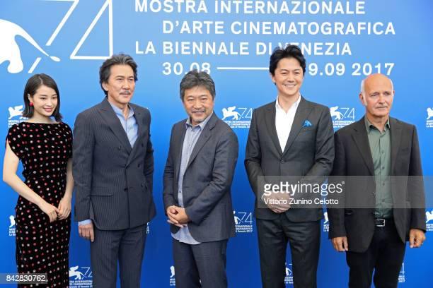 Suzu Hirose Koji Yakusho Hirokazu Koreeda Masaharu Fukuyama and Ludovico Einaudi attend the 'The Third Murder ' photocall during the 74th Venice Film...