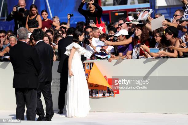 Suzu Hirose walks the red carpet ahead of the 'The Third Murder ' screening during the 74th Venice Film Festival at Sala Grande on September 5 2017...