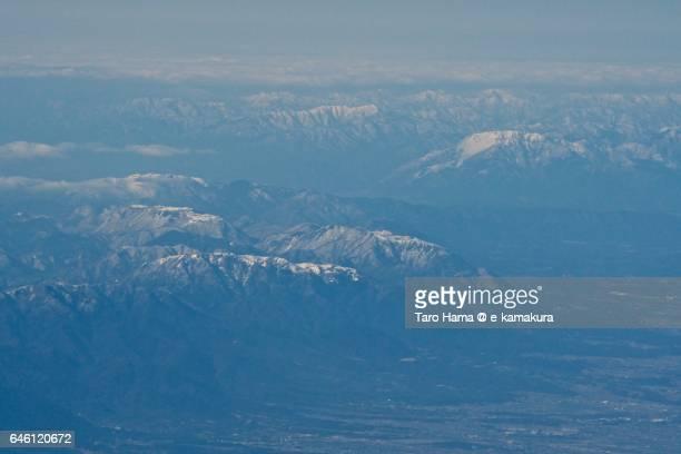 suzuka mountains daytime, aerial view from airplane - 三重県 ストックフォトと画像