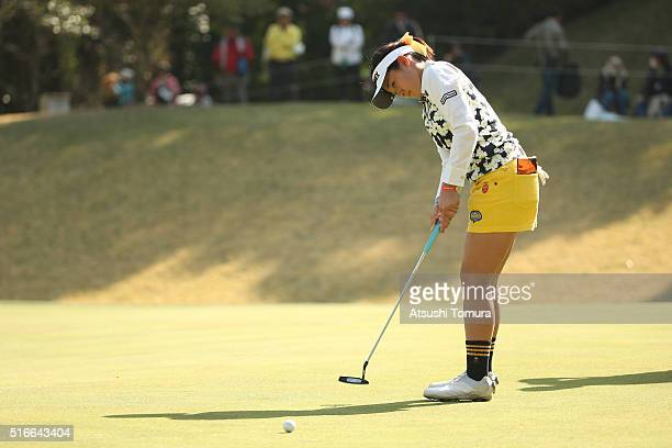 Suzuka Nagamine of Japan putts on the 2nd green during the T-Point Ladies Golf Tournament at the Wakagi Golf Club on March 20, 2016 in Takeo, Japan.