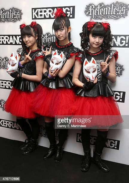 Suzuka Nakamoto as 'Sumetal' Yui Mizuno as 'Yuimetal' and Moa Kikuchi as 'Moametal' from Baby Metal attends the Relentless Energy Drink Kerrang...