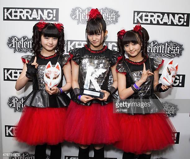 Suzuka Nakamoto as 'Sumetal' Yui Mizuno as 'Yuimetal' and Moa Kikuchi as 'Moametal'Baby Metal win the Spirit of Indepence Award at the Relentless...