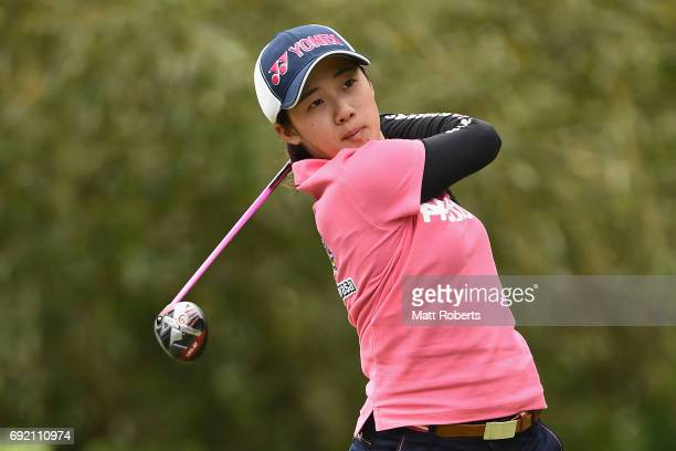 Suzuka Yamaguchi of Japan hits her tee shot on the 4th hole during the final round of the Yonex Ladies Golf Tournament 2016 at the Yonex Country Club...