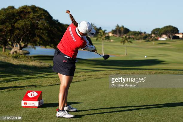 Suzuka Yamaguchi of Japan plays a tee shot on the first hole during the second round of the LPGA LOTTE Championship at Kapolei Golf Club on April 15,...