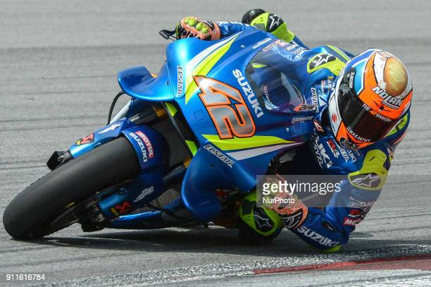 Suzuki ECSTAR Team's rider Alex Rins of Spain rides his bike during the second day of the 2018 MotoGP preseason test at the Sepang International...