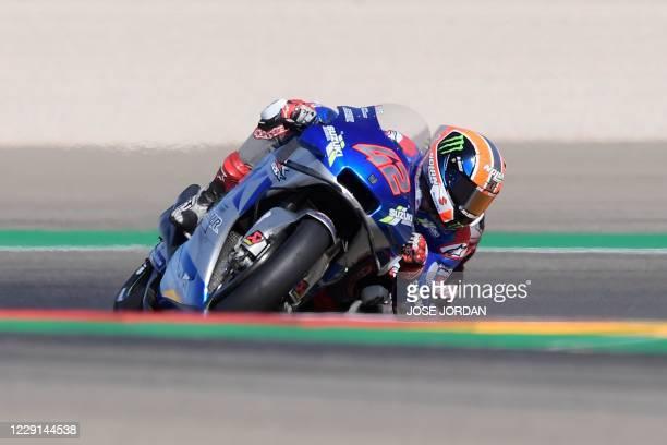 Suzuki Ecstar's Spanish rider Alex Rins rides during the MotoGP race of the Moto Grand Prix of Aragon at the Motorland circuit in Alcaniz on October...