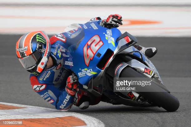 Suzuki Ecstar's Spanish rider Alex Rins takes part in the first practice session of the MotoGP Valencia Grand Prix at the Ricardo Tormo circuit in...