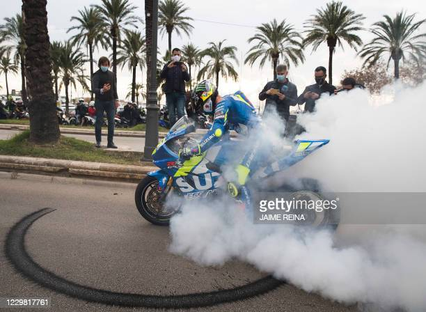 Suzuki Ecstar's Spanish rider Joan Mir arrives at the Balearic Government headquarters to celebrate his MotoGP world championship title in Palma de...