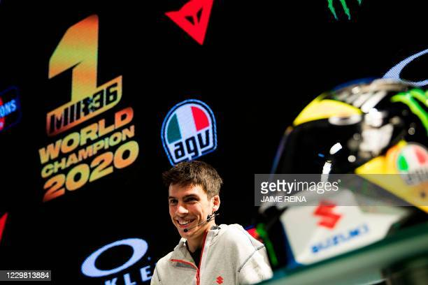 Suzuki Ecstar's Spanish rider Joan Mir holds a press conference before celebrating his MotoGP world championship title in Llucmajor on the Spanish...