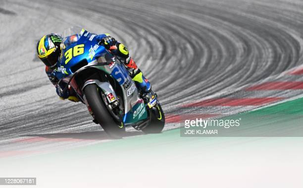 Suzuki Ecstar's Spanish rider Joan Mir rides his bike during the Moto GP Austrian Grand Prix at the Red Bull Ring circuit in Spielberg, Austria on...