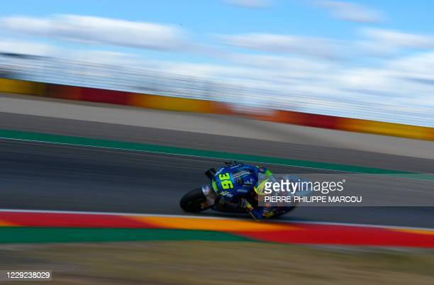 Suzuki Ecstar's Spanish rider Joan Mir takes part in the second free practice session of the MotoGP race of the Grand Prix of Teruel at the Motorland...