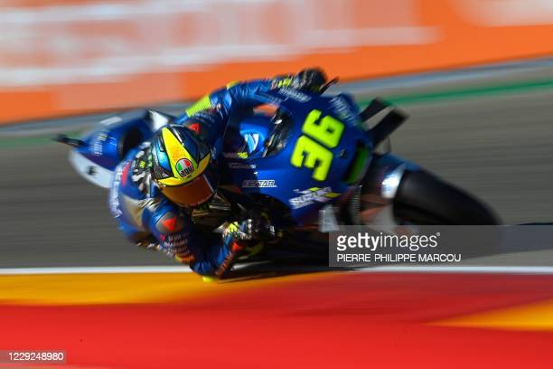 Suzuki Ecstar's Spanish rider Joan Mir takes part in the third practice session ahead of the MotoGP Grand Prix of Teruel at the Motorland circuit in...