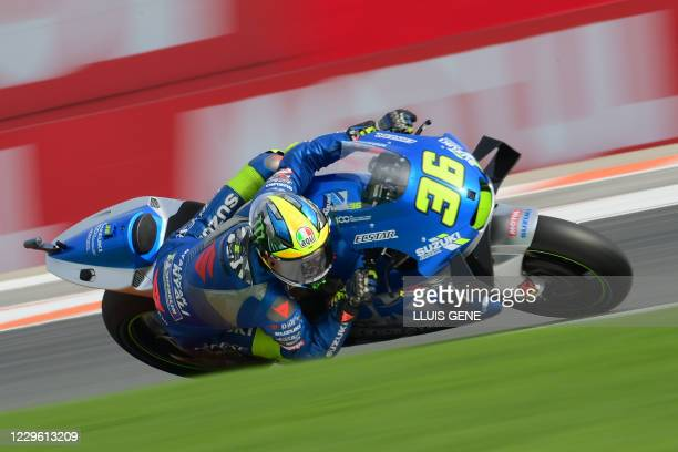 Suzuki Ecstar's Spanish rider Joan Mir takes part in the third practice session of the MotoGP Valencia Grand Prix at the Ricardo Tormo circuit in...